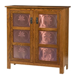 Mission Style 2-Door 3-Copper Panel Pie Safe