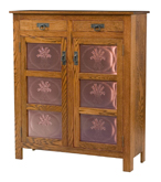 Mission Style 2-Door 3-Copper Panel with Drawer Pie Safe