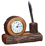 Hickory Desk Clock with Pencil Holder