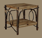 Hickory End Table with Solid Top and Shelf