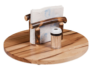 "15"" Hickory Lazy Susan with Napkin Holder"