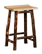 "24"" Hickory Bar Stool in Solid Seat"