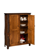 Hickory 2-Door Jelly Cupboard with 6 Adjustable Shelves