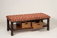 Hickory Bench with 2 Basket & Fabric Seat