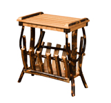 Hickory End Table with Magazine Rack