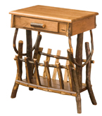 Hickory End Table with Magazine Rack and Drawer