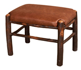 Hickory Fireside Footstool in Fabric Seat