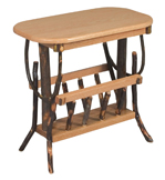 Hickory Oval Top End Table with Magazine Rack