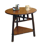 Hickory Round End Table with Triangle Bottom Shelf