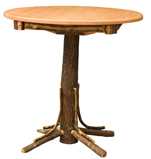 Hickory Round Top Pub Table with Square Skirting