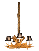 Small Antler Chandelier with 4 Lamps & Shades