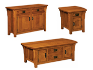 Craftsman Mission Cabinet Occasional Table Set