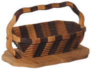 Large Striped Collapsible Basket with Base