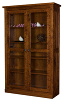 Freemont Mission Bookcase with Full Length Glass Doors