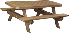 6' Poly Vinyl Rectangular Picnic Table
