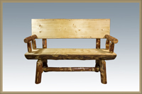 Glacier Country 4' Half Log Bench with Back & Arms