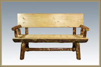 Glacier Country 5' Half Log Bench with Back & Arms