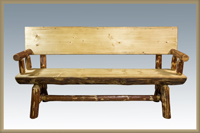 Glacier Country 6' Half Log Bench with Back & Arms