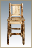 Glacier Country Barstool with Back and Laser Engraved Design