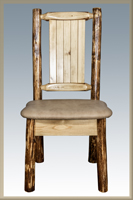 Glacier Country Side Chair with Upholstery and Laser Engraved Design