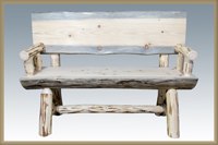 Montana 4' Half Log Bench with Back & Arms