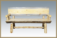 Montana 5' Half Log Bench with Back & Arms