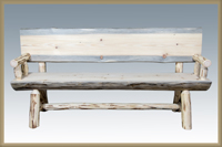 Montana 6' Half Log Bench with Back & Arms
