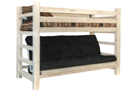 Homestead Twin Bunk Bed over Full Futon Frame with Mattress