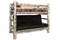 Montana Twin Bunk Bed over Futon Frame with Mattress