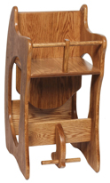 Wide Three-in-One Oak High Chair, Desk & Rocker